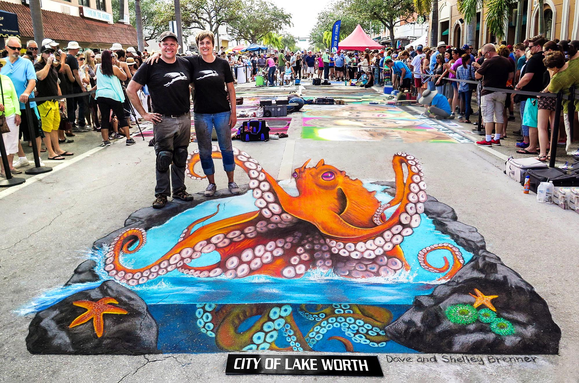 Dave and shelley brenner at the lake worth street painting festival